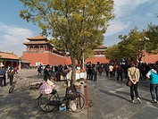 Tourist at the Meridian Gate, Forbidden City, Beijing, China