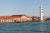 Glass shops, lighthouse and vaporetto station Murano, lagoon island of Murano, Venice, Veneto, Italy, Southern Europe