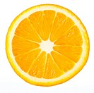 Section orange . The detailed photo on a gleam. It is isolated on a white background