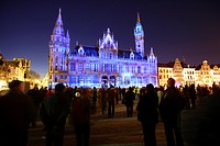 Moving projections on the Post Plaza at Korenmarkt square, Lights Festival Ghent, East Flanders, Belgium, Europe