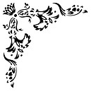 Element for design. Corner. Retro floral patterns.
