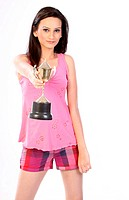 teenage girl with trophy