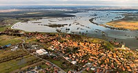 Aerial view, Bleckede, Elbe River, Elbe Valley Nature Park, winter floods, Lower Saxony, Germany, Europe