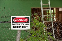 Keep Out sign at a construction site