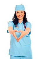 Happy doctor woman forming heart shape with her hands in front of her body isolated on white background