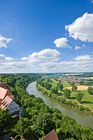 View over the Neckar River from Blue Tower, Bad Wimpfen, Neckartal, Baden_Wuerttemberg, Germany, Europe