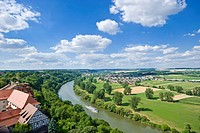 View over the Neckar River from Blue Tower, Bad Wimpfen, Neckartal, Baden-Wuerttemberg, Germany, Europe