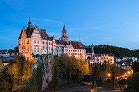 Sigmaringen Castle at dusk, Baden-Wuerttemberg, Germany, Europe