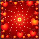 Abstract vector frame with hearts on a red background.