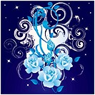 Abstract background with blue roses.