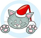 Illustration of christmas cat santa claus