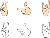 Set of people hands with gestures for design