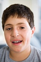Portrait of a boy wearing braces
