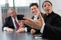 View of business people in a discussion