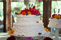 Wedding cake with flowers and white icing
