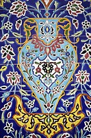Syria, Damascus, tiled decoration at Sayyida Zeinab Iranian mosque.