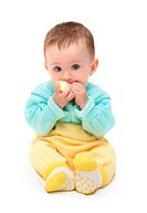 small baby biting apple isolated on white