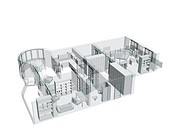 3d sketch of a four_room apartment. Isolated over white