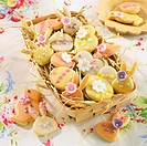 Various Easter biscuits decorated with icing