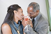 Close_up of a middle_aged couple toasting with wine glasses and smiling
