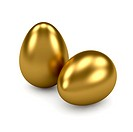 3d render of gold eggs on white background