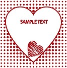 Red and white hearts with copy space