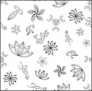 Abstract vector seamless background with graphic floral pattern, monochrome contours