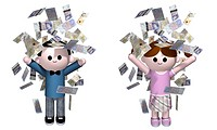 illustration of a boy and girl being showered in money