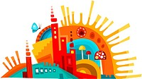 vector illustration of a colorful and abstract city