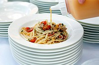 Seaffod pasta dish with crab meat and tomato