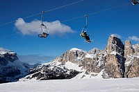 Ski lift, ski resort of Alta Badia, La Villa Stern, in front of Sassongher Mountain, 2665 m, Dolomites, Italy, Europe