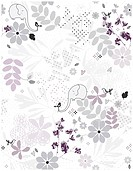 Vector seamless pattern displaying vintage garden and baby animals.