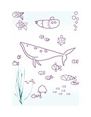 vector displaying underwater baby animals and submarine outline.