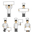 set of chef in different poses on white background