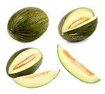 Set of 4 studio shots of a green melon cut differently and whole