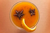 Pumpkin Spice Cocktail with Star Anise, In a Glass, From Above