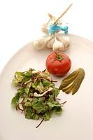 Salatteller mit frischem Salat und rote Beete Streifen, Gurke und Tomate