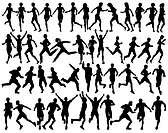 Set of editable vector silhouettes of people running