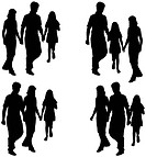 Silhouette of parents and children