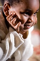 Close_up of cute African American 4 year old girl