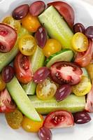 Food, Food And Drink, Vegetable, Fruit, Greek Salad, Salad, Vegetarian, Vegan, Tomato, Heirloom Tomato, Yellow Tomato, Greek Olive, Black Olive, Cucum...