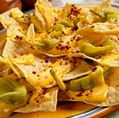 Nachos with Pepperoncinis and Cheese Sauce