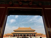 Tourists in the courtyard of a palace, Forbidden City, Beijing, China