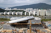 Busan Cinema Centre, Coop Himmelblau, Busan, South Korea, 2011, high view from the east with the river behind, COOP HIMMELBLAU, KOREA SOUTH, Architect