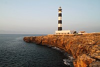 View of the lighthouse at Cap d´Artrutx in the morning light, Menorca, Spain, Europe