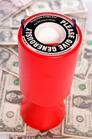 Red charity collection with american dollars