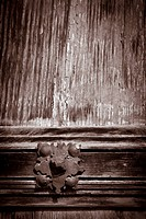 Architectural detail. Antique wooden door, Labastida, Alava, Spain