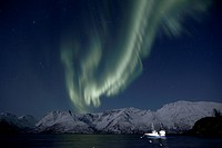 Polar lights (Aurora borealis), above the Oksfjorden, Fruvik, Oksfjord, Loppa, Finnmark, Norway, Europe
