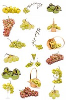 A set of different kinds of grapes isolated on a white background.