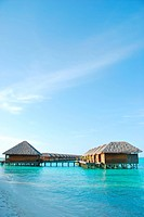 beautiful seascape with water villas in Maldivian Island
